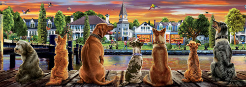 Dogs on the Quay - 1000pc Panoramic Jigsaw Puzzle by Educa
