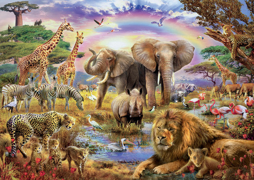 Watering Hole Under the Rainbow - 3000pc Jigsaw Puzzle By Educa