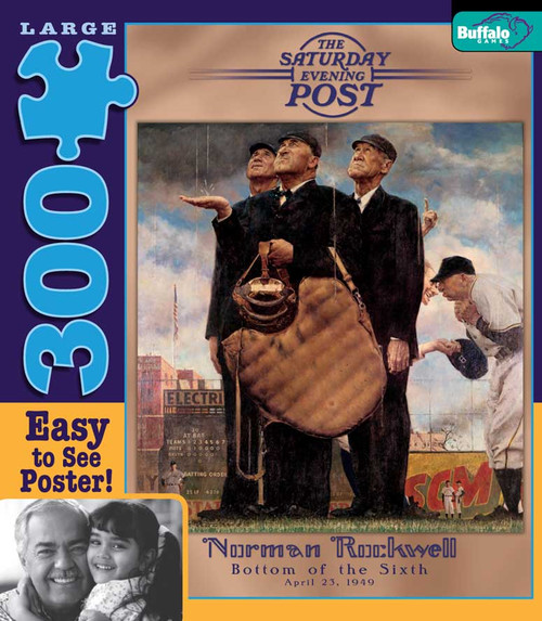 Norman Rockwell: Bottom of the Sixth - 300pc Large Format Jigsaw Puzzle by Buffalo Games (discon)
