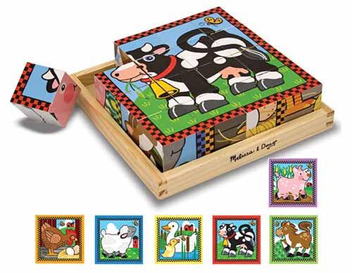 Farm Cubes - 16pc Block Puzzle For Kids By Melissa & Doug