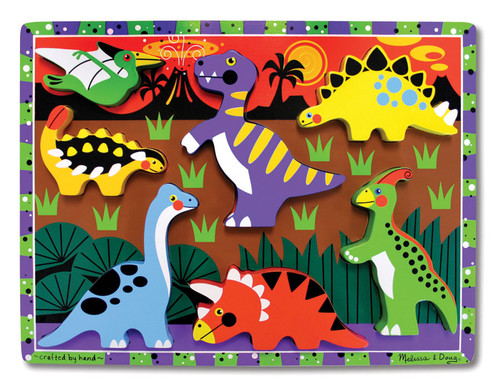Dinosaur - 7pc Chunky Wooden Children's Puzzle By Melissa and Doug