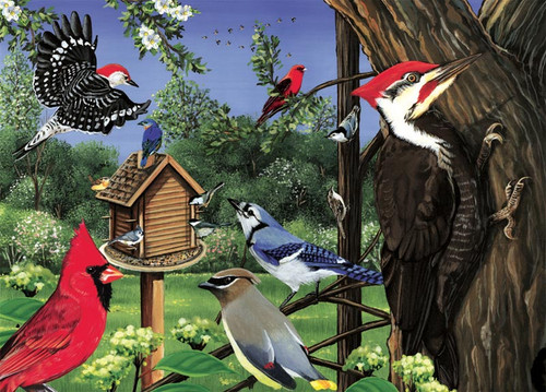 Cobble Hill Children's Puzzles - Around the Birdfeeder