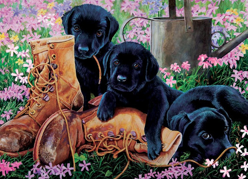Cobble Hill Children's Puzzles - Black Lab Puppies