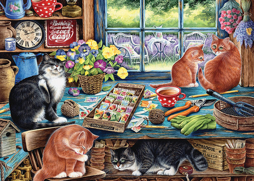 Garden Shed Cats - 35pc Tray Puzzle by Cobble Hill