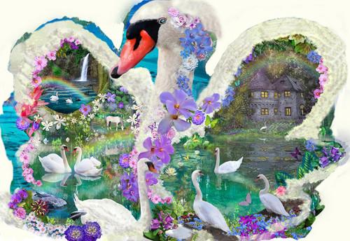 Shaped Jigsaw Puzzles - Swan Dreams