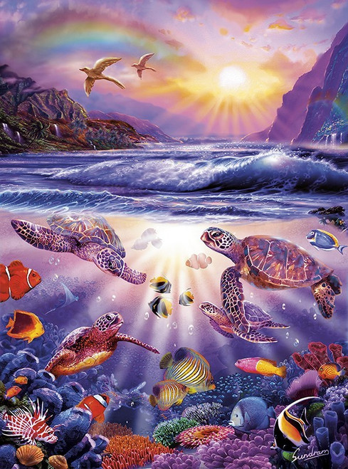 Marine Color: Turtle Bay - 1000pc Jigsaw Puzzle by Buffalo Games