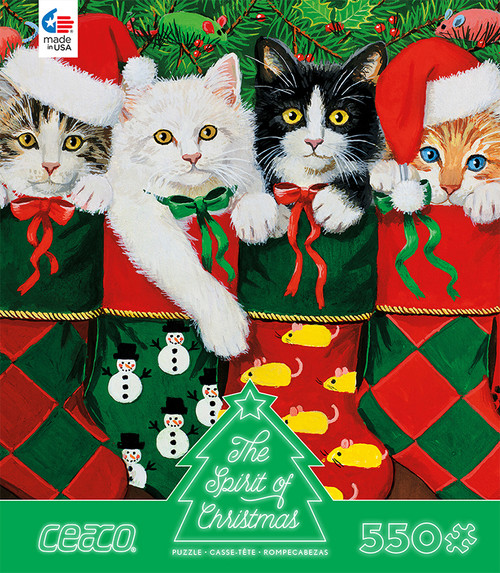 The Spirit of Christmas: Cats in Stockings - 550pc Jigsaw Puzzle by Ceaco