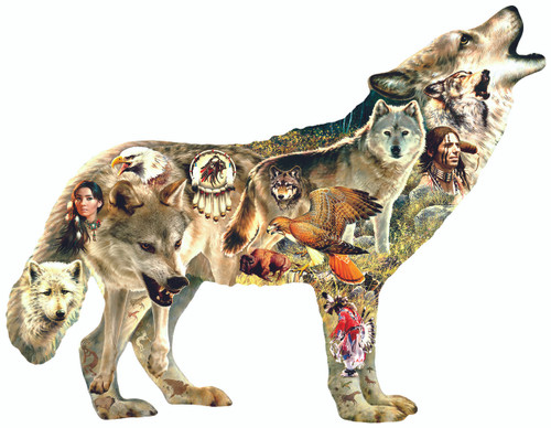 Native American Wolf - 750pc Shaped Jigsaw Puzzle by Sunsout