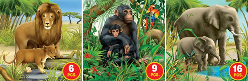 African Wildlife - 6pc, 9pc, 16pc Jigsaw Puzzle by D-Toys