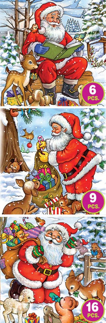 Santa Tales - 6pc, 9pc, 16pc Jigsaw Puzzle by D-Toys