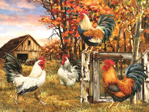 Rooster Farm - 300pc Jigsaw Puzzle By Sunsout