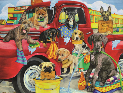 Puppy Car Wash - 300pc Jigsaw Puzzle By Sunsout