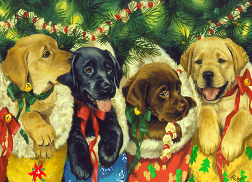 Christmas Puppies - 1000pc Jigsaw Puzzle by Vermont Christmas Company