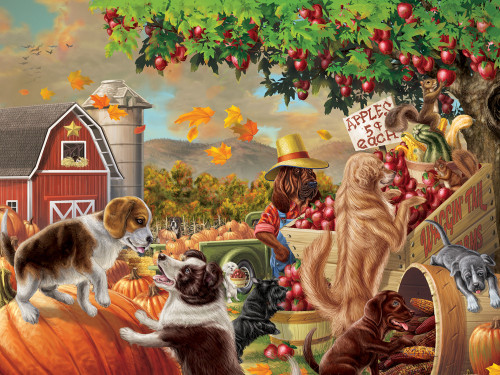 Harvest Market Hounds - 550pc Jigsaw Puzzle by Vermont Christmas Company