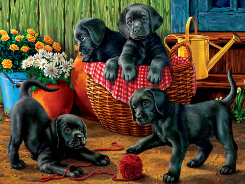 Puppy Fun - 550pc Jigsaw Puzzle by Vermont Christmas Company