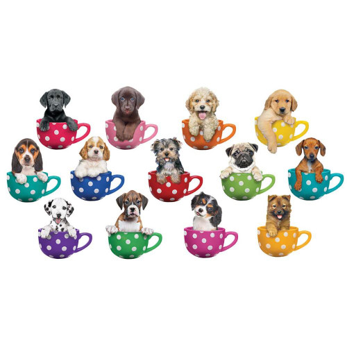 Pups in Cups  - 500pc Jigsaw Puzzle by Lafayette Puzzle Factory