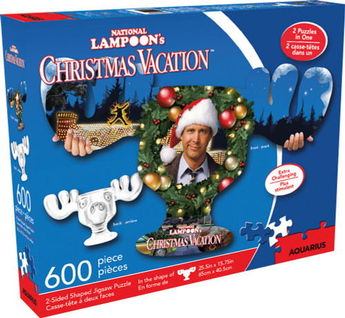 Christmas Vacation - 600pc Double-sided Shaped Jigsaw Puzzle by Aquarius