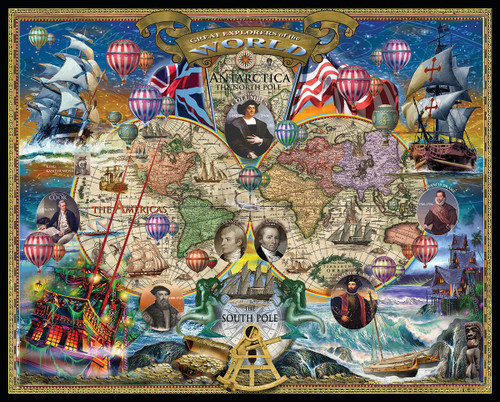 Great Explorers World Map - 1000pc Jigsaw Puzzle by White Mountain