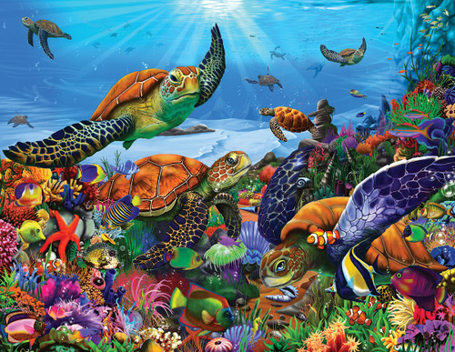 Amazing Sea Turtles - 300pc Jigsaw Puzzle by White Mountain