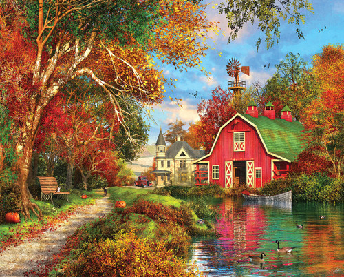 Autumn Barn - 1000pc Jigsaw Puzzle by White Mountain