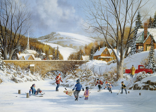 Hockey on Frozen Lake - 1000pc Jigsaw Puzzle By Cobble Hill