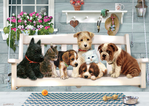 Porch Swing Buddies - 35pc Tray Puzzle by Cobble Hill