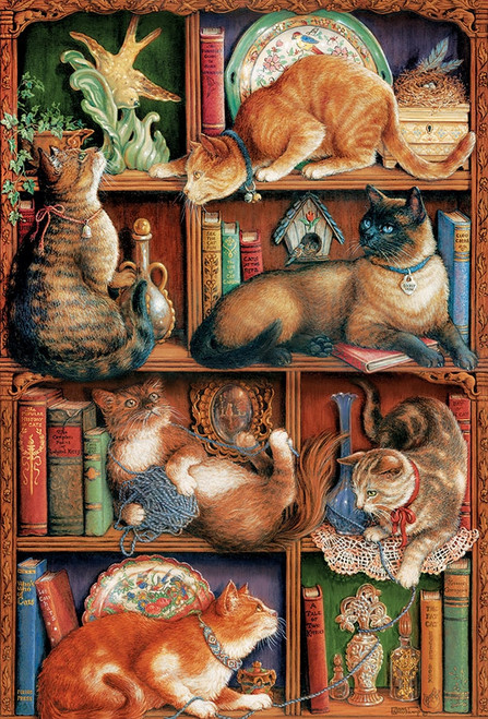 Feline Bookcase - 2000pc Jigsaw Puzzle by Cobble Hill