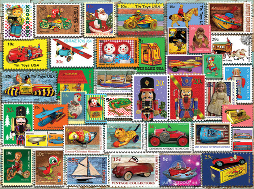 Christmas Toy Stamps - 1000pc Jigsaw Puzzle By White Mountain