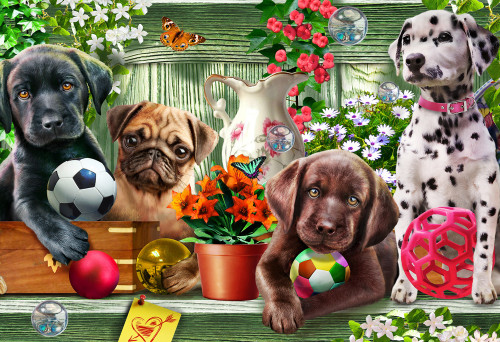 Garden Puppies - 100pc Jigsaw Puzzle by Vermont Christmas Company