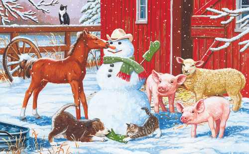 Winter Barnyard Scene - 300pc Large Format Jigsaw Puzzle By Sunsout