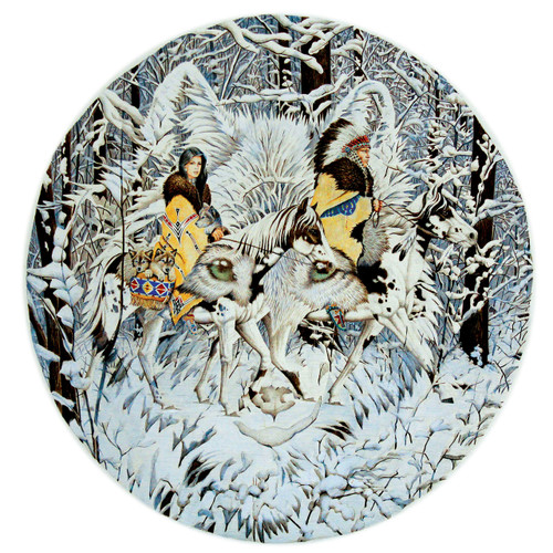 Keeper of the Wolf - 1000pc Round Jigsaw Puzzle By Sunsout