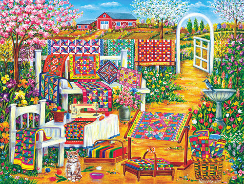 Garden Quilting - 500pc Jigsaw Puzzle By Sunsout