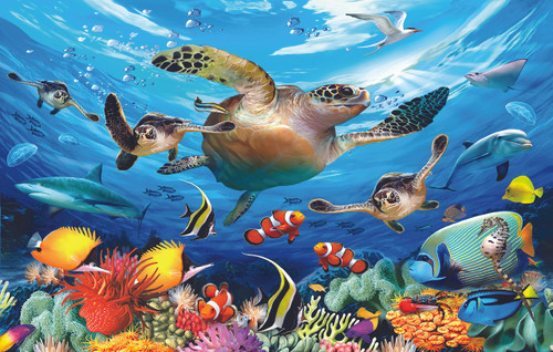 Journey of the Sea Turtles - 100pc Jigsaw Puzzle By Sunsout