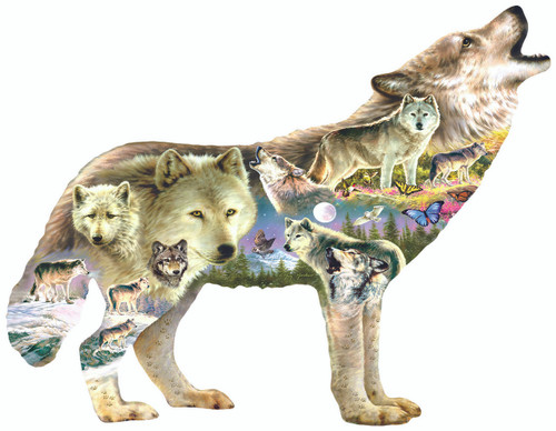 Meadow Wolf - 750pc Shaped Jigsaw Puzzle By Sunsout