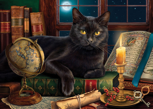 Black Cat by Candlelight - 500pc Large Format Jigsaw Puzzle By Sunsout
