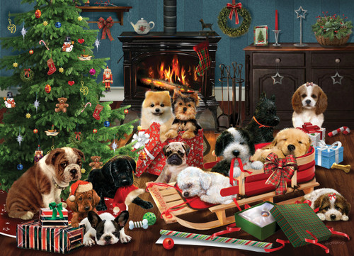 Christmas Puppies - 500pc Jigsaw Puzzle By Cobble Hill