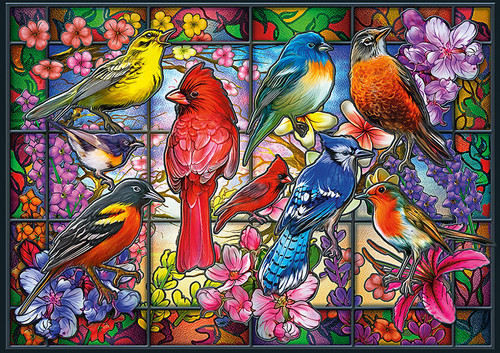 Amazing Nature: Stained Glass Songbirds - 500pc Jigsaw Puzzle By Buffalo Games