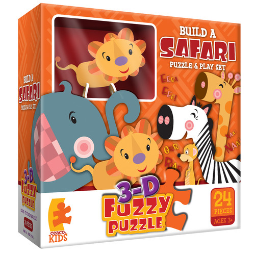 Build a Safari - 24pc 3-D Fuzzy Puzzle and Playset by Ceaco