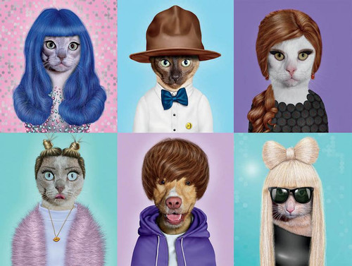 Pets Rock: Pop Stars - 550pc Jigsaw Puzzle by Ceaco