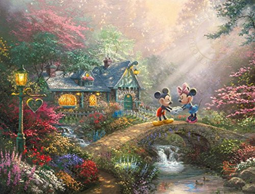 Thomas Kinkade Disney Dreams: Mickey & Minnie Sweetheart Bridge - 750pc Jigsaw Puzzle by Ceaco