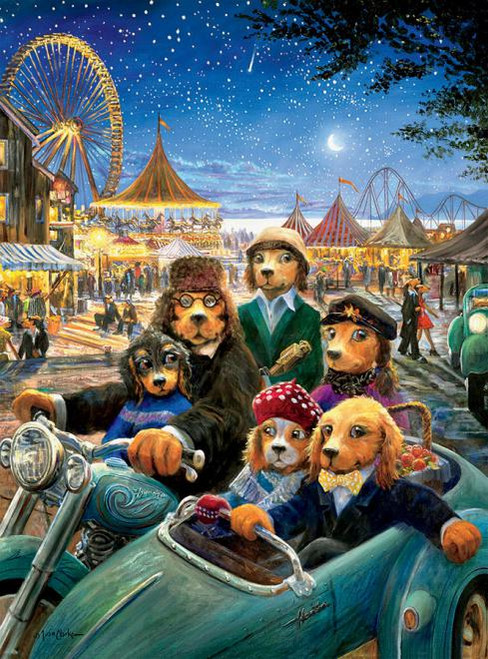 Lonely Dog: Night at the Carnival - 1000pc Jigsaw Puzzle by Ceaco