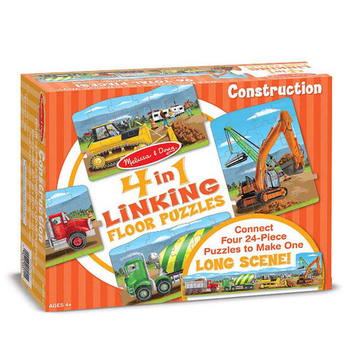 Construction - 24pc 4 in 1 (96 Total Pieces) Linking Floor Puzzles by Melissa & Doug