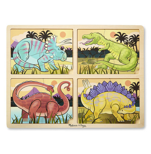 Dinosaurs - 16pc Wooden 4-in1 Tray Puzzle by Melissa & Doug