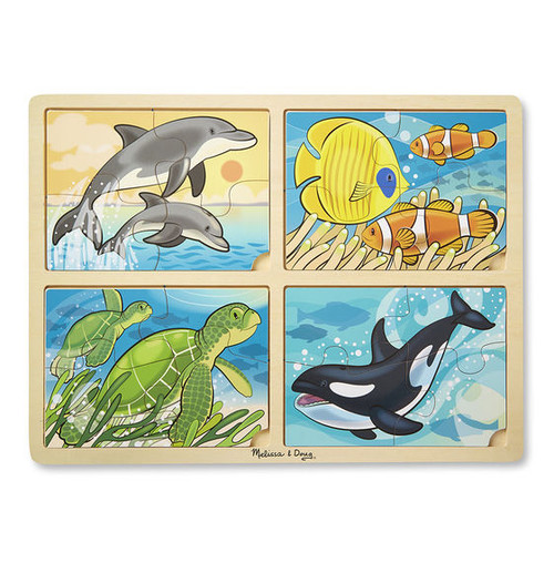 Sea Life - 16pc Wooden 4-in1 Tray Puzzle by Melissa & Doug
