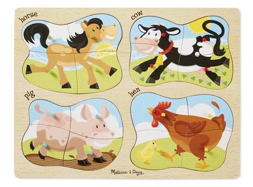 Farm Animals - 16pc Wooden 4-in1 Peg Puzzle by Melissa & Doug