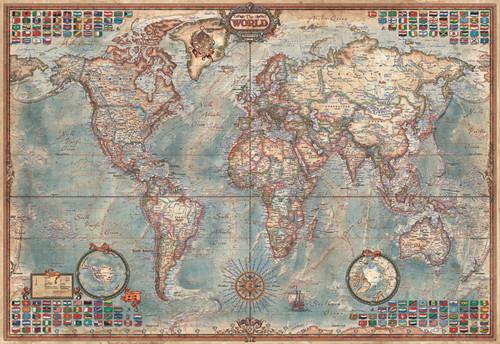 Political Map Of The World - 1000pc Miniature Jigsaw Puzzle by Educa