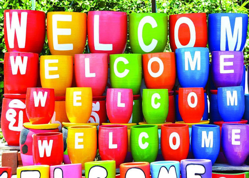 "Colorful ""Welcome"" Pots - 500pc Jigsaw Puzzle by Lafayette Puzzle Factory"