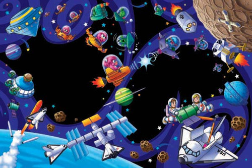 Space Zone - 48pc Crayola Chalkboard Floor Puzzle by Lafayette Puzzle Factory