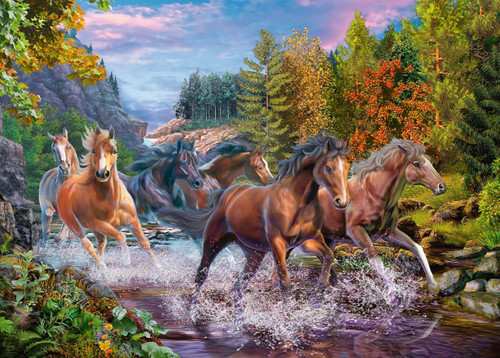 Rushing River Horses - 100pc Jigsaw Puzzle By Ravensburger