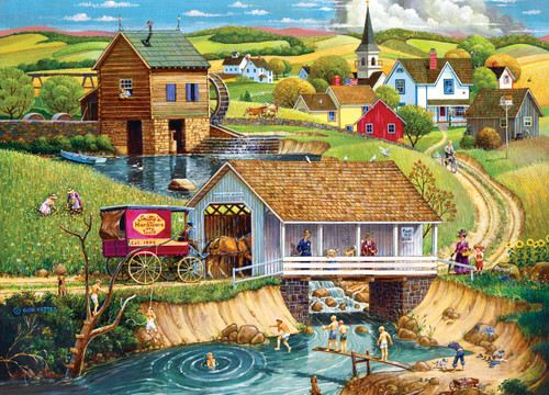Hometown Gallery: Last Swim of Summer - 1000pc Jigsaw Puzzle by Masterpieces